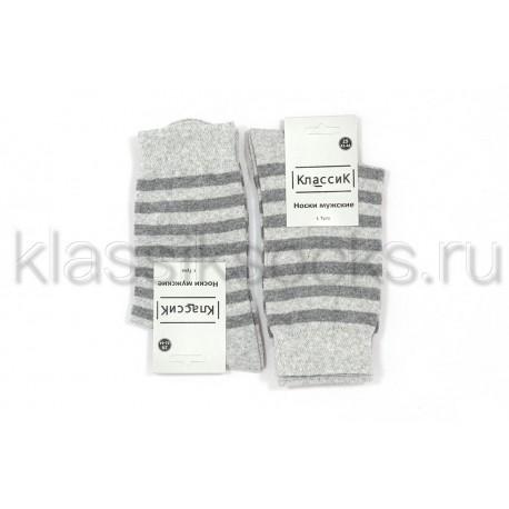 Носки мужские светло-серые полосатые хлопок, КГ-219